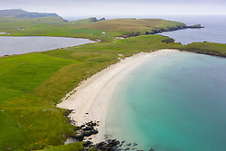 View of Spiggie Beach also called Scousburgh Sands and Loch of Spiggie, in Dunrossness, Shetland, Scotland, UK