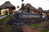 """Kona International Airport Waiting Area. Bronze of """"The Lei Makers"""" Image taken with a Nikon D300 and 10.5 mm f/2.8 fisheye lens (ISO 1400, f/2.8, 1/125 sec)."""