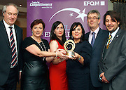 Clio O'Gara, Eilish Loughrey, Eileen and Patrick O'Donoghue of the Killarney Convention Centre  received their award from Dr Tony Lenehan (left) of Failte Ireland and Matt Fisher (right) COO of EFQM at the EFQM Ireland Excellence Awards ceremony in association with Fáilte Ireland and the Centre for Competitiveness at the Galway Bay Hotel on Friday night. Photo:- Andrew Downes Photography / No Fee