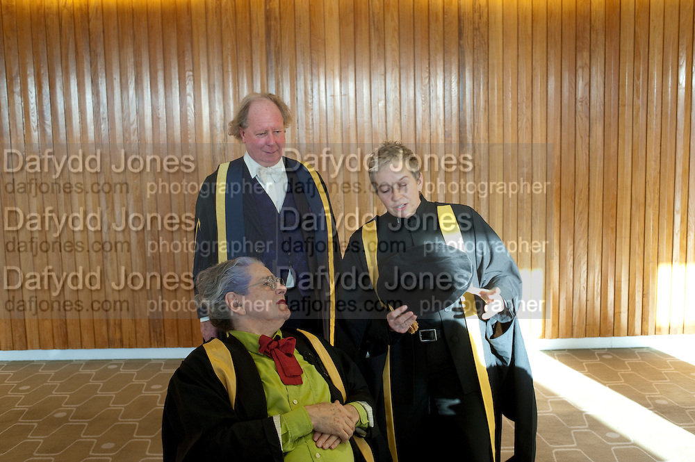 BETTE BOURNE; PRINCIPAL; GAVIN HENDERSON; ; HELEN LANNAGHAN;  Central School of Speech and Drama presents Honory Fellowships to Carrie Fisher, Bette Bourne, Joseph Selig and Helen Lannaghan. Royal Festival Hall. London. 12 December 2011.