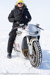 Russian actor Vladimer Yaglych on Yaroslav Tatarinov's custom Kawasaki 1350 GTR at the Baikal Mile Ice Speed Festival. Maksimiha, Siberia, Russia. Saturday, February 29, 2020. Photography ©2020 Michael Lichter.