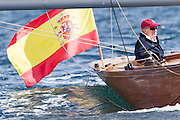 SANXENXO, PONTEVEDRA, 2015 OCTOBER 17 <br /> <br /> King Juan Carlos I, leave to navigate the new Bribon, first in Sanxenxo with the Acacia, classic in which he sailed for the last edition of the Regata SM King Juan Carlos<br /> ©Exclusivepix Media