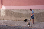 A local pet owner stops to allow one of his Pug dogs to defecate on the pavement of a quiet residential street, on 11th July 2016, in Lisbon Portugal. Under a pink coloured wall and near the Castelo Sao Jorge, the man has both pets on leads and allows the other to sniff a low post.