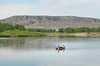 Canoeists on Missouri River near Judith Landing, Upper Missouri Breaks National Monument Montana