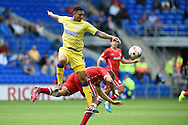 Sheff Wed's Liam Palmer challenges Aron Gunnarsson of Cardiff city.Skybet football league championship match, Cardiff city v Sheffield Wed at the Cardiff city stadium in Cardiff, South Wales on Saturday 27th Sept 2014<br /> pic by Andrew Orchard, Andrew Orchard sports photography.