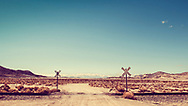 Railroad Crossing in the California Desert near the Trona Pinnacles Landscape in Trona California.