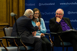 Pictured: Martin Johnstone, secretary of Church and Society Council, interviewed Marie Therese Martin (from North Glasgow) with John Chalmers, Moderator of the Church of Scotland listening in<br /> <br /> The People Politics Hustings,  organised by the Church of Scotland, allowed voters to question SNP deputy John Swinney, Scottish Labour leader Kezia Dugdale, Scottish Liberal Democrat leader Willie Rennie, Scottish Greens co-convener Patrick Harvie and former Scottish Conservatives leader Annabel Goldie ahead of the Scottish Elections. Before the politicians had a chance to speak they had a chance to listen to five speakers with different viewpoints on how Scotland has supported them in the past and how it should support them in the future..<br /> Ger Harley | EEm 4 April 2016