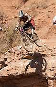 Red Bull Rampage freeride event, Virgin, Utah, USA. October 2003