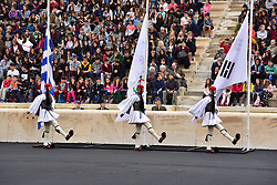 October 31, 2017 - Athens, Attiki, Greece - Greek Presidential Guard is entering the Panathenaic Stadium. The Handover Ceremony of the Olympic Flame for Winter Games PYEONGCHANG 2018, took place today in Panathenaic Stadium in the presence of the President of Hellenic Republic Prokopis Pavlopoulos. (Credit Image: © Dimitrios Karvountzis/Pacific Press via ZUMA Wire)