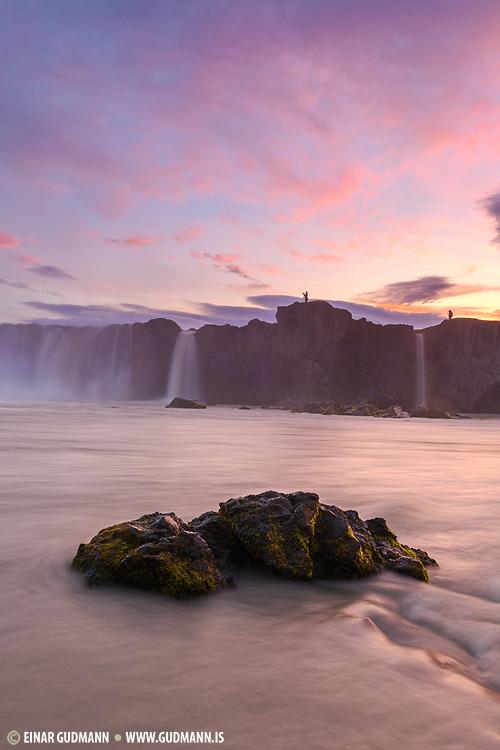Godafoss waterfall is in Northeast-Iceland.
