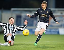 Fraserburgh's Bryan Hay and Falkirk's John Baird. <br /> Half time ; Falkirk 1 v 0 Fraserburgh, Scottish Cup third round, played 28/11/2015 at The Falkirk Stadium.