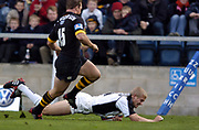 Wycombe. GREAT BRITAIN, 10th October 2004, Guinness Premiership Rugby, London Wasps and Newcastle Falcons, Adams Park, ENGLAND. [Mandatory Credit; Pete Spurrier/Intersport-images]<br /> <br /> Falcons's, Michael Stephenson, running in for  a late second half try.