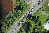 Sykkel<br /> Artic Race 2015<br /> Foto: imago/Digitalsport<br /> NORWAY ONLY<br /> <br /> Die 4.Etappe fuehrte das Fahrerfeld Peloton nochmals entlang der Fjorde und Waelder Nahe des Polarkreises - Ansicht von oben aus einem Helikopter - Lofoten - Landschaft - Landscape - Feature - Natur - Hintergrund - Illustration - Impression - Uebersichtsbild - kompaktes Fahrerfeld - Aktion - Rennszene - Querformat - quer - horizontal - Event / Veranstaltung: 3. Arctic Race of Norway 2015 - Stage 4 / 4.Etappe: Narvik nach Narvik 160.0 km - Location / Ort: Narvik - Troms - Norway - Norwegen - Europe - Europa - Date / Datum: 16.08.2015