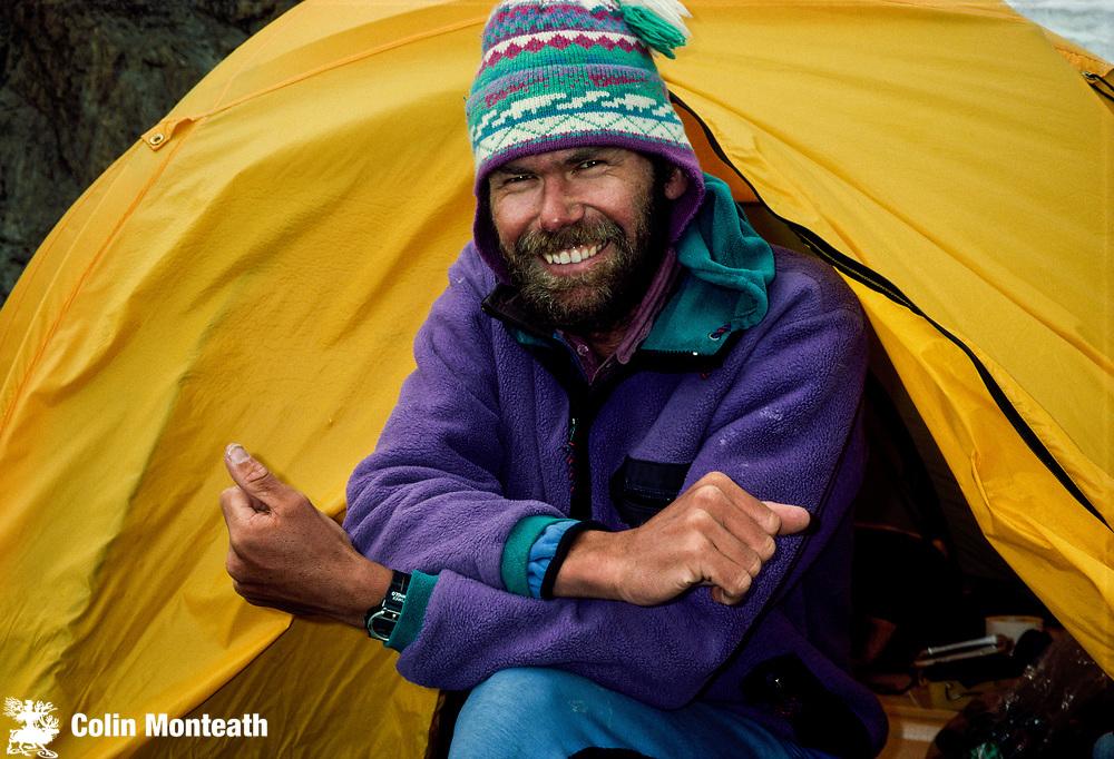 Kiwi mountaineer Rob Hall, Everest guide, Cho Oyu base camp, Tibet Himalaya