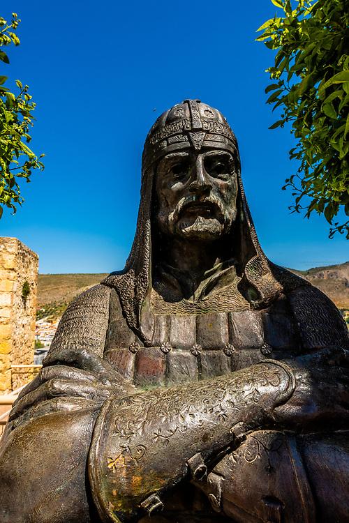 Statue of Arab Sultan Ali al Atar (Aliatar), Loja, Granada Province, Andalusia, Spain.