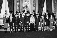 "Prima Minister of Italy Matteo Renzi (5th from right, first row) poses for a group picture with 14 of the 16 ministers of his cabinet and President of the Republic Giorgio Napolitano (4th from right, first row) after swearing in as Italy's youngest Prime Minister at the Quirinale, the presidential palace in Rome, Italy, on on February 19th 2014.<br /> <br /> Former Prime Minister Enrico Letta's resigned on February 13th 2014 following tensions between with the Secretary of the Democratic Party Matteo Renzi, the Democratic Party leadership voted heavily in favour of Renzi's call for ""a new government, a new phase and a radical programme of reform"".<br /> <br /> ###<br /> <br /> Roma, febbraio 2014. Il primo ministro Matteo Renzi e la sua squadra di governo posano per una foto di gruppo insieme al Presidente della Repubblica Giorgio Napolitano a conclusione della cerimonia di giuramento tenutosi al Quirinale."