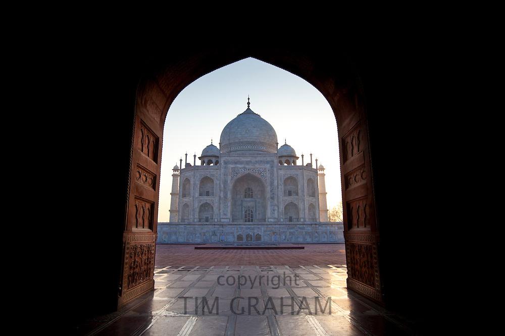Taj Mahal mausoleum western view, viewed from Taj Mahal Mosque, at dawn in Agra, Uttar Pradesh, India