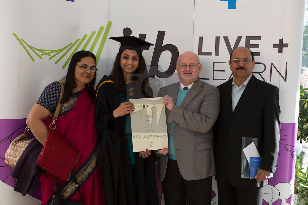 Neha Thathi International Student of the Year pictured with Fergus Rea ITB International Officer with her parents MAdhuri (left) and Dr Tejerdersingh Thethi pictured at the Institute of Technology Blanchardstown (ITB) 2013 conferring ceremony. 2013 sees the largest number of students being conferred with awards at ITB with over 800 people receiving awards in areas like Mechatronic Engineering, Horticulture, Accounting and Finance, Early Childhood Care and Education and Information Security and Digital Forensics to name but a few. Picture Andres Poveda