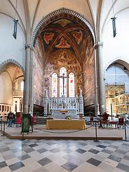 THEMENBILD - Die Basilika Santa Maria Novella ist eine gotische Kirche und Klosteranlage in Florenz. Sie liegt im Nordwesten der Altstadt, an der Piazza Santa Maria Novella, fast unmittelbar neben dem nach ihr benannten Hauptbahnhof. Hier im Bild Cappella Tornabuoni. Die Fresken der Hauptchorkapelle schuf von 1485 bis 1490 Domenico Ghirlandaio. Sie bedecken eine Fläche von 400 m² und zeigen Szenen aus dem Leben der Jungfrau Maria (darunter die Geburt Mariens) und Johannes' des Täufers. Aufgenommen am 18. Oktober 2015 // Santa Maria Novella is a church in Florence, Italy, situated just across from the main railway station which shares its name. Chronologically, it is the first great basilica in Florence, and is the city's principal Dominican church. The church, the adjoining cloister, and chapterhouse contain a store of art treasures and funerary monuments. Especially famous are frescoes by masters of Gothic and early Renaissance. They were financed through the generosity of the most important Florentine families, who ensured themselves of funerary chapels on consecrated ground. Pictured on 18. October 2015. EXPA Pictures © 2015, PhotoCredit: EXPA/ Johann Groder