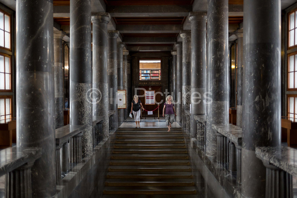 Interior of the Slovenian National and University Library by the celebrated architect Joze Plecnik, in the Slovenian capital, Ljubljana, on 27th June 2018, in Ljubljana, Slovenia.