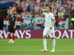 MOSCOW, July 11, 2018  Kieran Trippier (R) of England celebrates scoring during the 2018 FIFA World Cup semi-final match between England and Croatia in Moscow, Russia, July 11, 2018. (Credit Image: © Yang Lei/Xinhua via ZUMA Wire)