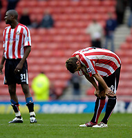 Photo: Jed Wee.<br />Sunderland v West Bromwich Albion. The Barclays Premiership. 17/09/2005.<br /><br />Sunderland's Andy Gray suffers the dejection of an injury time equaliser.