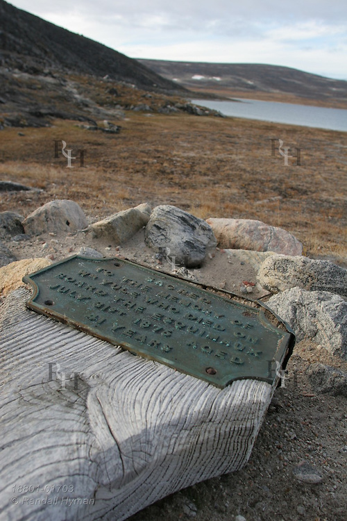 Gravestone reads: Sacred to the memory of Wm Yule who did on board the Esquimaux July 31st, 1875, aged 41 years; Isabella Bay, Baffin Island; Nunavut, Canada