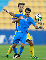 Getafe CF's Angel Rodriguez (f) and AD Alcorcon's David Fernandez during friendly match. August 9,2017. (ALTERPHOTOS/Acero)