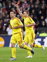 Foto Omega/GPA<br /> Eindhoven 03/04/2007<br /> Champions League 2006-2007<br /> Psv Eindhoven-Liverpool<br /> Nella foto John Arne Riise esulta dopo il suo gol