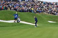 Ian Poulter (Team Europe) on the 1st green during the Friday Foursomes at the Ryder Cup, Le Golf National, Ile-de-France, France. 28/09/2018.<br /> Picture Thos Caffrey / Golffile.ie<br /> <br /> All photo usage must carry mandatory copyright credit (© Golffile | Thos Caffrey)
