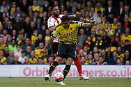 Troy Deeney of Watford taking a shot at goal. Barclays Premier league match, Watford v Sunderland at Vicarage Road in Watford, London on Sunday 15th May 2016.<br /> pic by Steffan Bowen, Andrew Orchard sports photography.