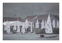 Largs Sailing club Slip..Opening races in breezy conditions for the Laser Radial World Championships, taking place at Largs, Scotland GBR. ..118 Women from 35 different nations compete in the Olympic Women's Laser Radial fleet and 104 Men from 30 different nations. .All three 2008 Women's Laser Radial Olympic Medallists are competing. .The Laser Radial World Championships take place every year. This is the first time they have been held in Scotland and are part of the initiaitve to bring key world class events to Britain in the lead up to the 2012 Olympic Games. .The Laser is the world's most popular singlehanded sailing dinghy and is sailed and raced worldwide. ..Further media information from .laserworlds@gmail.com.event press officer mobile +44 7775 671973  and +44 1475 675129 .