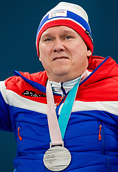 March 17, 2018 - Pyeongchang, SOUTH KOREA - 180317 Rune Lorentsen of Norway with the silver medal after the wheelchair curling final match between China and Norway during day eight of the 2018 Winter Paralympics on March 17, 2018 in Pyeongchang..Photo: Vegard Wivestad GrÂ¿tt / BILDBYRN / kod VG / 170135 (Credit Image: © Vegard Wivestad Gr¯Tt/Bildbyran via ZUMA Press)