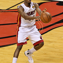 Jun 21, 2012; Miami, FL, USA; Miami Heat point guard Norris Cole (30) against the Oklahoma City Thunder during the second quarter in game five in the 2012 NBA Finals at the American Airlines Arena. Mandatory Credit: Derick E. Hingle-US PRESSWIRE