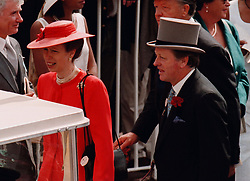 The Princess Royal and Andrew Parker Bowles follow the Queen Mother through the crowds of Ascot today (Tues). Photo by John Stillwell/PA
