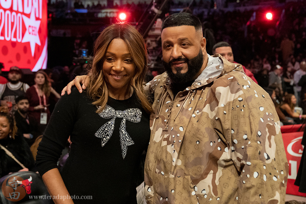 February 15, 2020; Chicago, Illinois, USA; American actress Tiffany Haddish (left) and recording artist DJ Khaled (right) during NBA All Star Saturday Night at United Center.