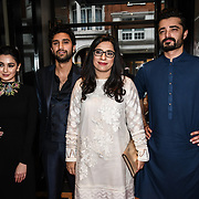 """Hamza Ali ,Hania Amir,Ahad Raza Mir, Producter and Hamza Ali Abbasi star of the movie attend Photocall in London Premiere of """"Parwaaz Hai Junoon"""" (Soaring Passion) as featured on SKY, ITV at The May Fair Hotel, Stratton Street, London, UK. 22 August 2018."""