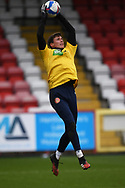 Stevenage goalkeeper Billy Johnson (13)  warming up during the EFL Sky Bet League 2 match between Stevenage and Carlisle United at the Lamex Stadium, Stevenage, England on 20 March 2021.