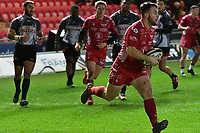 Rugby Ubion_ 2019 / 2020 Guinness Pro14 - Scarlets vs. Southern Kings<br /> <br />  Ryan Conbeer Llanelly Scarlets scores a try  , at Parc y Scarlets, Llanelli. <br /> <br /> COLORSPORT/WINSTON BYNORTH
