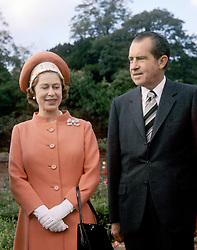 File photo dated 03/10/70 of Queen Elizabeth II with the then US President Richard Nixon at Chequers in Buckinghamshire.