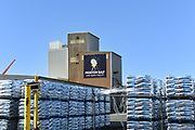 Pallets Stacked with Bags of Morton Salt in the Port of Long Beach