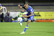 AFC Wimbledon midfielder Jimmy Abdou (8) controlling the ball during the EFL Trophy match between AFC Wimbledon and Luton Town at the Cherry Red Records Stadium, Kingston, England on 31 October 2017. Photo by Matthew Redman.