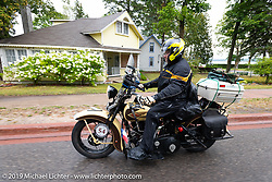 Joe Burch (from Texas) riding his 1930 Harley-Davidson VL during the Cross Country Chase motorcycle endurance run from Sault Sainte Marie, MI to Key West, FL. (for vintage bikes from 1930-1948). Stage 1 from Sault Sainte Marie to Ludington, MI USA. Friday, September 6, 2019. Photography ©2019 Michael Lichter.