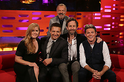 (left to right) Amy Adams, Jeremy Renner, Graham Norton, Chris O'Dowd and Niall Horan during the filming of The Graham Norton Show at the London Studios in London, to be aired on BBC1 on Friday evening.