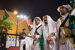 Saudi King Salman Bin Abdelaziz (or Abdul Aziz) Al Saud (2nd from R) dances the 'ardha' or traditional sword dance with US President Donald Trump in Riyadh, Saudi Arabia on May 20, 2017. This is the first US president's visit abroad. Photo by Balkis Press/ABACAPRESS.COM