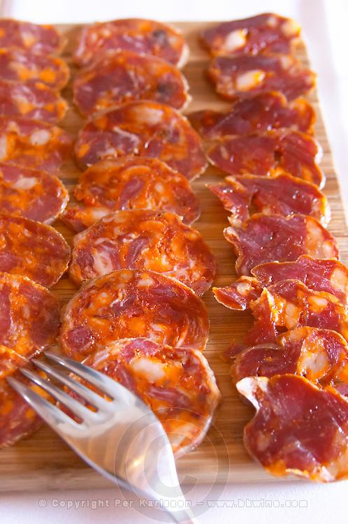 In the restaurant. Sausages. Herdade da Malhadinha Nova, Alentejo, Portugal
