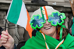 © Licensed to London News Pictures. 18/03/2012. London, England. In this picture: Betty Doocey, 72, of the Haringey Irish Centre. London celebrates St. Patrick's Day with a parade and festival. Photo credit: Bettina Strenske/LNP