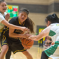 Newcomb Skyhawks Aaleigha Ashley (4) and Virlonda Brown (21) guard Tohatchi Cougar Cheyenne Begay (30) Thursday in Newcomb.