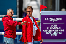 BECKER Otto (Bundestrainer Springen), AHLMANN Christian (GER)<br /> Rotterdam - Europameisterschaft Dressur, Springen und Para-Dressur 2019<br /> Parcoursbesichtigung<br /> Longines FEI Jumping European Championship - 1st part - speed competition against the clock<br /> 1. Runde Zeitspringen<br /> 21. August 2019<br /> © www.sportfotos-lafrentz.de/Stefan Lafrentz
