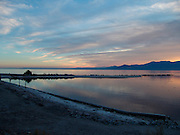 View over a large lake at sunset Salton Sea USA